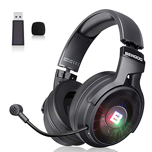 BENGOO 2.4G Wireless Gaming Headset Headphones with Microphone for PS4 PC, USB RGB Over-Ear Noise Cancelling Headphones with 7.1 Surround Deep Bass, Retractable Mic, Memory Earmuffs, 17 Hours Playtime