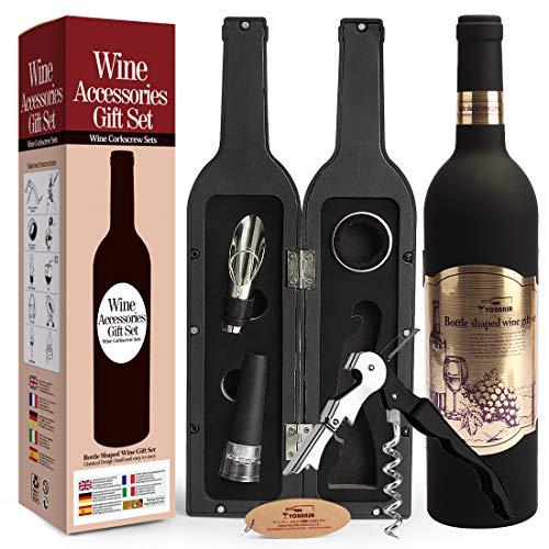 Yobansa Set di Accessori da Vino a Forma di Bottiglia di Vino,Accessori per Il Vino Include cavatappi,Tappo per Vino,versatore per Vino (Bottle 02)