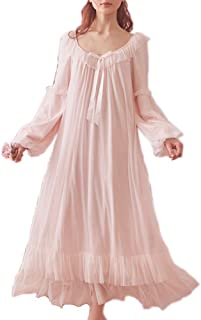 Women's Vintage Victorian Nightgown Long Sleeve Sheer Sleepwear Pajamas Nightwear Lounge Dress