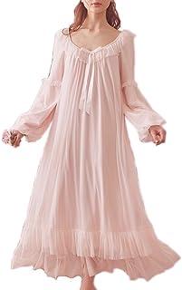 ثوب النوم الفيكتوري العتيق طويل الأكمام شفاف منامة ملابس النوم الصالة اللباس