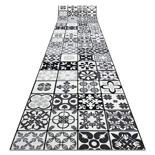 Tapis de Couloir AZULEJO Patchwork, Lisbon Tiles antidérapant, pour la Cuisine, Le Hall, Le Couloir, Solide, Moderne, Gris / Noir 67x180 cm