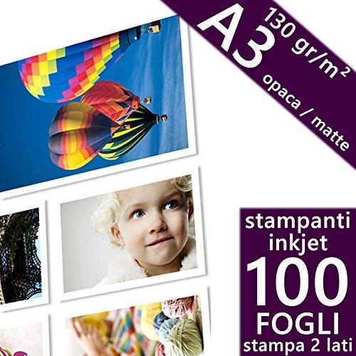 Confezione100 fogli Carta fotografica A3 Matte Opaca 130 gr. Bifacciale - Doppio Lato Stampabile per Stampanti INKJET 297x420 mm