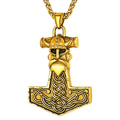 FaithHeart Mjolnir Necklaces Odin Thor's Hammer Pendant 18K Gold Plated Nordic Viking Necklace Helmet Talisman Vintage Celtic Knot Necklaces for Men-Gold Customize
