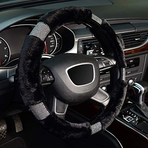 KAFEEK Diamond Fuzzy Steering Wheel Cover with Bling Bling Crystal Rhinestones for Winter Warm, Universal 15 inch Plush Steering Wheel Cover,Black