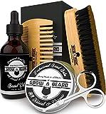 Beard Brush & Beard Comb Set w/ Beard Scissors, Oil & Balm Grooming Kit, Beard Brush for Men, Natural Boar Bristle Beard Brush, Men's Beard Brush, Boars Hair Beard Brush, Wood Comb Great for Mustaches