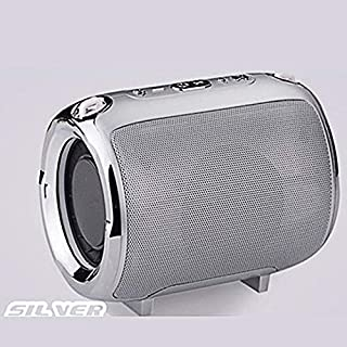 Portable Wireless Bluetooth Speaker w/Strap HD Voice Prompt Small Loudspeaker for Car Outdoors Travel (Silver)