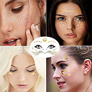 Sponsored Ad - Halloween Face Temporary Tattoo Sticker Freckle fortune teller Face Gold Glitter Metallic Water Transfer Ta...