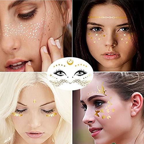 Gesicht Temporäre Tattoo Aufkleber Sommersprosse Wahrsagerin Gesicht Gold Glitter Metallic Wassertransfer Tattoo für professionelle Make-up Tänzer Kostüm