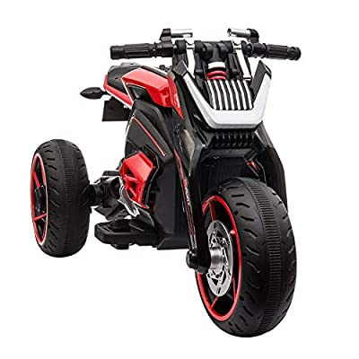 TOBBI 12V Kids Ride On Motorcycle Toys 3 Wheels Electric Trike Motorcycle for Boys and Girls with Light in Red