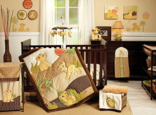 Disney Lion King Simbas Wild Adventure 7 Piece Nursery Crib Bedding Set - Appliqued Comforter, 2 100% Cotton Fitted Crib Sheets, Crib Skirt with 16u0022 Drop, 3 Soft Wall Hangings