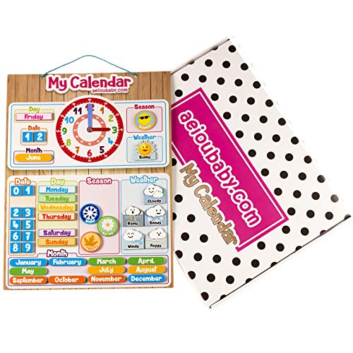 Magnetische Kalender klok voor kinderen   Educatief spel datum tijd en uur voor muur of koelkast   43 x 32 cm   doos verjaardag kinderen voor school en crèche (Engels)