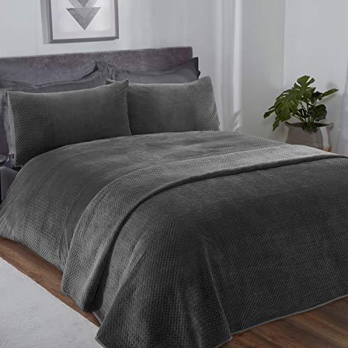 Sleepdown Pinsonic grijs velours geometrisch paneel band super zacht gezellig luxe dekbedovertrek quilt beddengoed set…