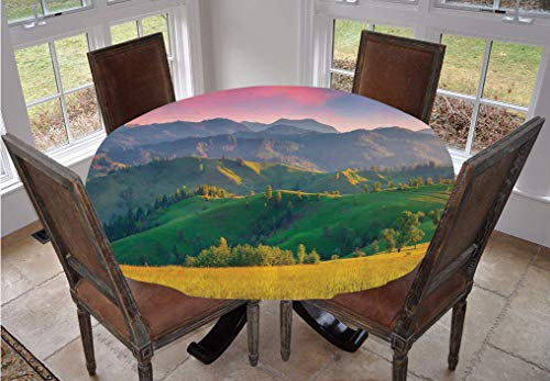 Angel Bags Nature Round Tablecloth,Summer Sunrise in the Mountains with Rolling Hills and Valleys in Morning Light Deco Decorative Polyester Table Cover,48 Inch,for Dining Room Kitchen Party Multi