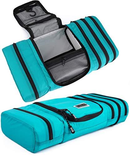 Trousse de toilette de voyage Pro Packing Cubes – Se replie à plat pour économiser de lespace – Trousse de toilette étanche à suspendre pour homme et femme bleu Aqua-Grey L