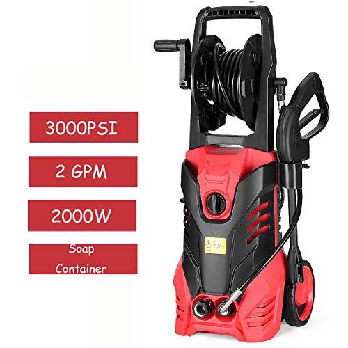 Goplus 3000PSI Electric High Pressure Washer Machine 2 GPM 2000W W/Deck Patio Cleaner (Red)