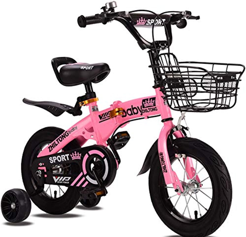 LHLCG Faltbares Kinderfahrrad 12 14 16 18 Zoll Fahrrad mit Hilfsrad Alter 2-8