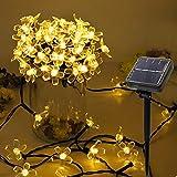 NEWYANG Cadena de Luces solares, 12M 100 LED 8 Modos P65 Impermeables LED Flores Luces de Cadena para Exteriores, Jardines, Caminos, Patios, Vallas, Bodas, decoración navideña…