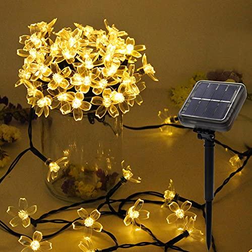 NEWYANG Cadena de Luces solares, 12M 100 LED 8 Modos P65 Impermeables LED Flores Luces de Cadena...