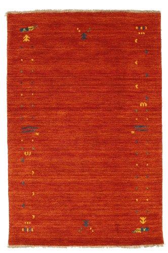 CarpetVista Teppich Gabbeh Loom Frame, Kurzflor, 100 x 160 cm, Rechteckig, Modern, Wolle, Schlafzimmer, Wohnzimmer, Rostrot