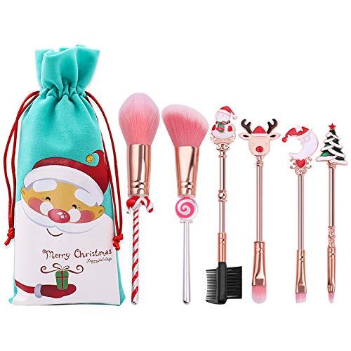 6pcs Pinceaux de Maquillage,Joyhoop Noël Ensemble Mignon Blush Visage Ombre à Paupières Pinceaux à Lèvres Sourcils Avec Pochette Pour Femmes Filles Cadeau d'Anniversaire de Noël