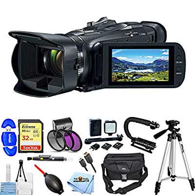 Canon Vixia HF G50 UHD 4K Camcorder (Black) 3667C002 Pro Bundle with Extreme 32GB SD, 3PC Filter Kit, LED Light Kit, Video Stabilizer, Tripod, Large Gadget Bag and More [International Version] by Pixel Hub