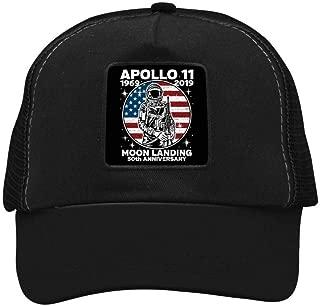 GIDIGOU Unisex NASA Apollo 11 50th Anniversary Moon Landing Logo Adult Mesh Baseball Caps Adjustable Snapback Strap Hat