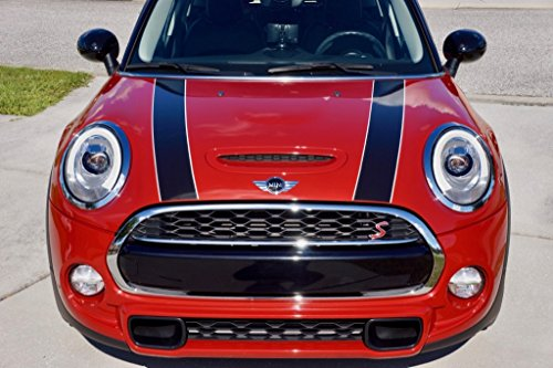 The Pixel Hut gs00144 Black with White Border Hood Stripes for MINI Cooper and S Hard Top F56 (2014 - Present)