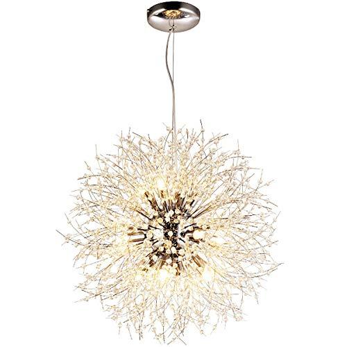 QASD Lámpara de Techo, Araña de Cristal de Diente de León de Personalidad Creativa Que Ahorra Energía, para Dormitorio Sala de Estar Comedor Montaje Empotrado Lámpara Colgante Gold