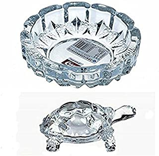 Supermall Imported Tortoise House Glass Crystal Tortoise In Plate 4X4 Inch Fang Shui Vastu Set