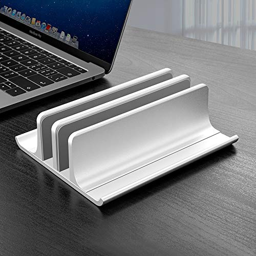 Double Adjustable Vertical Laptop Stand Newly Designed 2 Slot Aluminum Desktop Dual Holder for All MacBook/Chromebook/Surface/Dell/iPad Up to 17.3 Inches - Silver