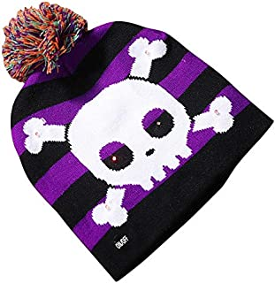 SODIAL LED Halloween Glowing Knit Cap Hat Christmas Sweater Beanie Light Up Knitted Hat Halloween Adult Christmas Party Skull