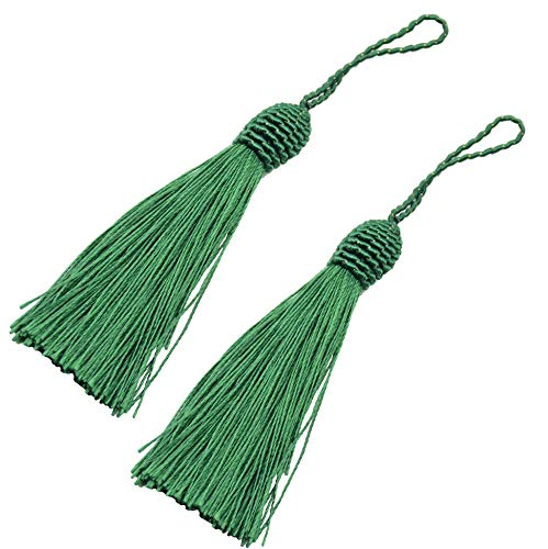 Makhry 20pcs 15.5cm/6 Inch Silky Floss Bookmark Tassels with 2-Inch Cord Loop and Small Chinese Knot for Jewelry Making, Souvenir, Bookmarks, DIY Craft Accessory (Dark Green)