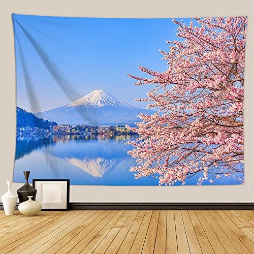 KHKJ Flores de Cerezo Tapiz de fantasía Colgante de Pared Decoración de Dormitorio Hippie Tapiz de Pared psicodélico Macrame Mandala Tapiz A9 130x150cm