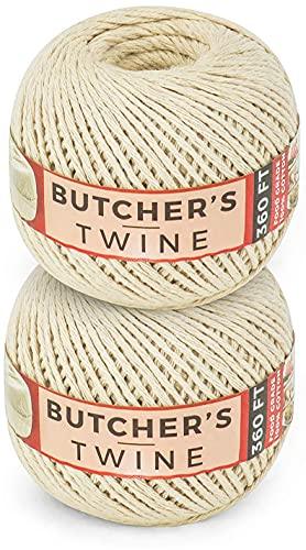 SteadMax Cooking Twine, 100% Natural Cotton Food Grade Baker's Twine, Durable Meat and Vegetable Tie, Easy Dispensing, Total of 720 ft (2 Pack)