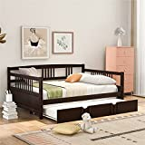 Pinewood Daybed Sofa Bed with Pull-Out Hideaway Trundle, Living Room Guest Room Bedroom Furniture Daybed Frame with Guardrails and Wood Slats (Full,Espresso)