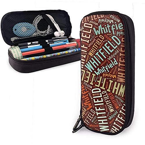 Whitfield - Estuche de lápices de cuero de gran capacidad de apellido americano Organizador de papelería de pluma Organizador Bolígrafo de maquillaje universitario Bolso de papelería de estudiante