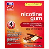 Rite Aid Nicotine Gum, 4 mg - 100 Count | Quit Smoking Aid | Nicotine Replacement Gum (Cinnamon)