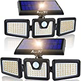 Solar Lights Outdoor, 2 Pack AmeriTop 128 LED 800LM Wireless LED Solar Motion Sensor Lights Outdoor; 3 Adjustable Heads, 270° Wide Angle IP65 Waterproof, Security Flood Light (Warm White)