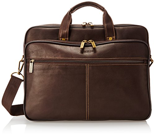 Heritage Travelware Colombian Leather Dual Compartment Top Zip 16' Laptop Portfolio, Brown