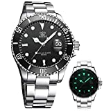 Men Silver Stainless Steel Watches,Classic Watch for Men,Analog Sport Quartz Wrist Watches,Mens Fashion Bussiness Watches,OLEVS Watches Rotatable Bezel Calendar Waterproof Black Dial Luminous Watches