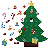CSCH DIY Mini árbol de Navidad pegatinas de pared Adornos de Año Nuevo Papel tapiz 3D Adornos de fieltro de Navidad Regalos de Navidad de Año Nuevo