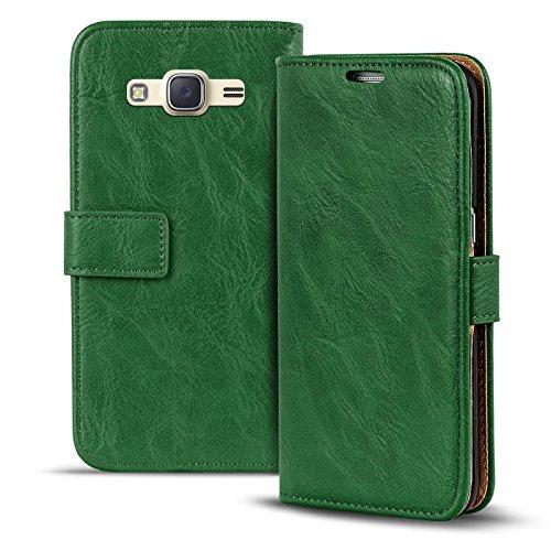Verco Funda para Samsung Galaxy J1 2016, Telefono Movil Case para Galaxy J1 2016 (J120) Libro Protectora Carcasa Retro, Verde