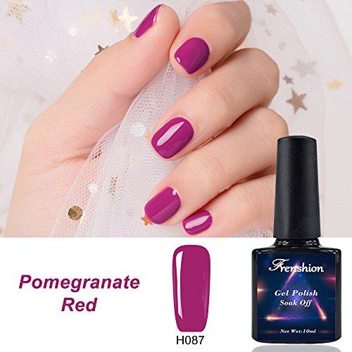 Frenshion 10ML Gel Nail Polish Semi Permanent Soak Off UV LED Esmalte de uñas Kit de Manicura Pomegranate Red H87