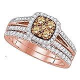 Anillo de compromiso de oro rosa de 14 quilates con diamante marrón...