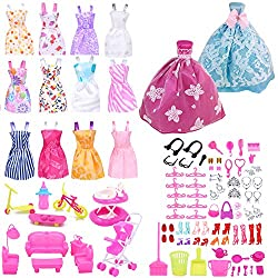 Image: EuTengHao 123 Pcs Doll Clothes and Accessories for Barbie Dolls Contain 13 Party Gown Outfits Dresses for Barbie, two Handmade Doll Wedding Dresses and 108 Pcs Doll Accessories for 11-12 inch Barbie Doll