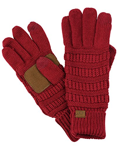 C.C Unisex Cable Knit Winter Warm Anti-Slip Touchscreen Texting Gloves, Burgundy