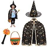 FORMIZON Capa De Mago De Sombrero, Disfraces De Halloween, Capa De Bruja con Bolsa De Caramelos, Infantil Capa, Juego De Roles Vestir para Unisex NiñOs NiñAs Disfraz De Cosplay Fiesta (Negro)