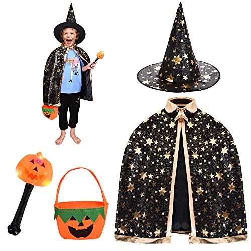 FORMIZON Capa De Mago De Sombrero, Disfraces De Halloween, Capa De Bruja con Bolsa De Caramelos, Infantil Capa, Juego De Roles Vestir para Unisex NiOs NiAs Disfraz De Cosplay Fiesta (Negro)