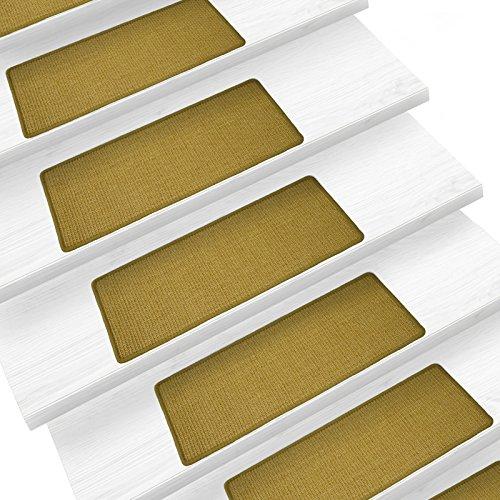 Sisal Stufenmatten im 15er Set | 100 % Naturfaser in 2 Größen | sicherer Halt auf Ihrer Treppe | rechteckig 65x24 cm ohne Lippe - natur