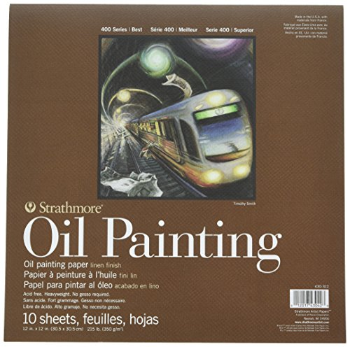 Strathmore Oil Painting Paper Pad, 215lb/350gsm weight, Linen texture surface, 12 x 12 inches, 10 sheets (430-312)